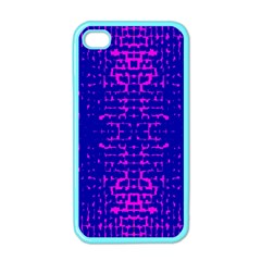 Blue And Pink Pixel Pattern Apple Iphone 4 Case (color) by Amaryn4rt