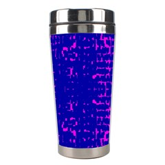 Blue And Pink Pixel Pattern Stainless Steel Travel Tumblers by Amaryn4rt
