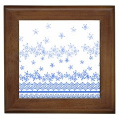 Blue And White Floral Background Framed Tiles by Amaryn4rt