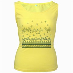 Blue And White Floral Background Women s Yellow Tank Top