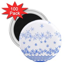 Blue And White Floral Background 2 25  Magnets (100 Pack)  by Amaryn4rt