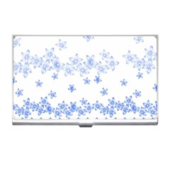 Blue And White Floral Background Business Card Holders by Amaryn4rt