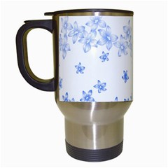 Blue And White Floral Background Travel Mugs (white) by Amaryn4rt