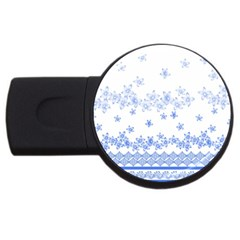 Blue And White Floral Background Usb Flash Drive Round (4 Gb) by Amaryn4rt
