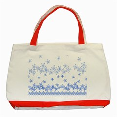 Blue And White Floral Background Classic Tote Bag (red) by Amaryn4rt