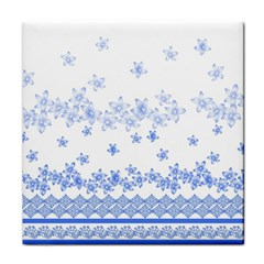 Blue And White Floral Background Face Towel by Amaryn4rt