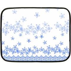 Blue And White Floral Background Double Sided Fleece Blanket (mini)  by Amaryn4rt