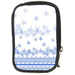 Blue And White Floral Background Compact Camera Cases by Amaryn4rt