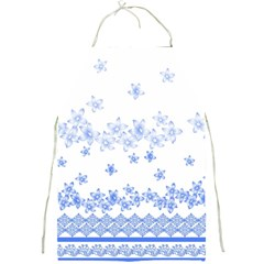 Blue And White Floral Background Full Print Aprons by Amaryn4rt