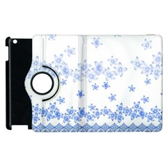Blue And White Floral Background Apple Ipad 3/4 Flip 360 Case by Amaryn4rt