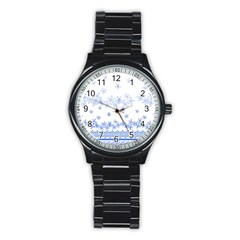 Blue And White Floral Background Stainless Steel Round Watch by Amaryn4rt