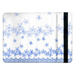 Blue And White Floral Background Samsung Galaxy Tab Pro 12 2  Flip Case by Amaryn4rt
