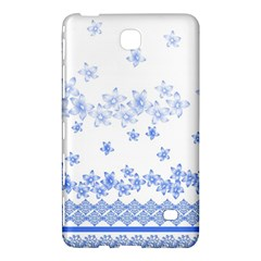 Blue And White Floral Background Samsung Galaxy Tab 4 (7 ) Hardshell Case  by Amaryn4rt