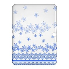 Blue And White Floral Background Samsung Galaxy Tab 4 (10 1 ) Hardshell Case  by Amaryn4rt