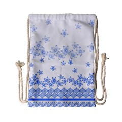 Blue And White Floral Background Drawstring Bag (small) by Amaryn4rt