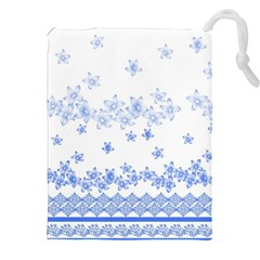 Blue And White Floral Background Drawstring Pouches (xxl) by Amaryn4rt
