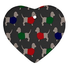 Cute Dachshund Dogs Wearing Jumpers Wallpaper Pattern Background Ornament (heart) by Amaryn4rt
