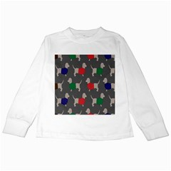 Cute Dachshund Dogs Wearing Jumpers Wallpaper Pattern Background Kids Long Sleeve T Shirts by Amaryn4rt