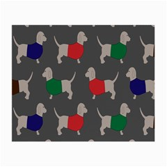 Cute Dachshund Dogs Wearing Jumpers Wallpaper Pattern Background Small Glasses Cloth (2 Side)