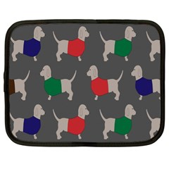 Cute Dachshund Dogs Wearing Jumpers Wallpaper Pattern Background Netbook Case (xl)  by Amaryn4rt