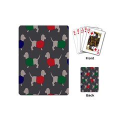 Cute Dachshund Dogs Wearing Jumpers Wallpaper Pattern Background Playing Cards (mini)  by Amaryn4rt
