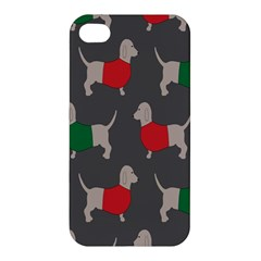 Cute Dachshund Dogs Wearing Jumpers Wallpaper Pattern Background Apple Iphone 4/4s Hardshell Case by Amaryn4rt
