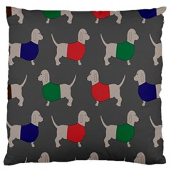 Cute Dachshund Dogs Wearing Jumpers Wallpaper Pattern Background Large Flano Cushion Case (one Side)