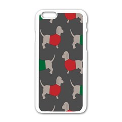 Cute Dachshund Dogs Wearing Jumpers Wallpaper Pattern Background Apple Iphone 6/6s White Enamel Case by Amaryn4rt