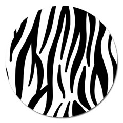 Seamless Zebra A Completely Zebra Skin Background Pattern Magnet 5  (round) by Amaryn4rt