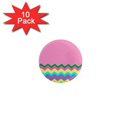 Easter Chevron Pattern Stripes 1  Mini Magnet (10 Pack)  by Amaryn4rt