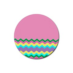 Easter Chevron Pattern Stripes Rubber Round Coaster (4 Pack)  by Amaryn4rt