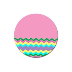 Easter Chevron Pattern Stripes Magnet 3  (round) by Amaryn4rt