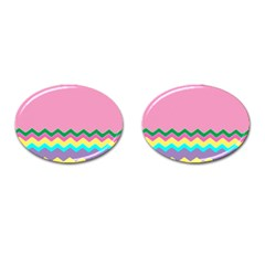 Easter Chevron Pattern Stripes Cufflinks (oval) by Amaryn4rt