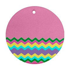 Easter Chevron Pattern Stripes Round Ornament (two Sides) by Amaryn4rt