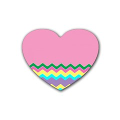 Easter Chevron Pattern Stripes Rubber Coaster (heart)  by Amaryn4rt