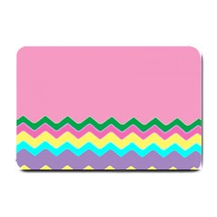 Easter Chevron Pattern Stripes Small Doormat  by Amaryn4rt