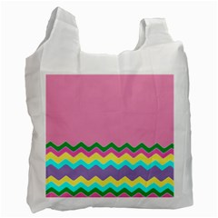 Easter Chevron Pattern Stripes Recycle Bag (one Side) by Amaryn4rt
