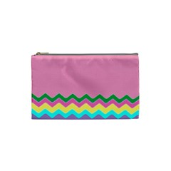 Easter Chevron Pattern Stripes Cosmetic Bag (small)  by Amaryn4rt