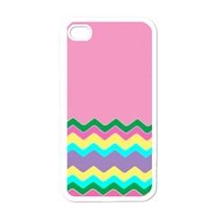 Easter Chevron Pattern Stripes Apple Iphone 4 Case (white) by Amaryn4rt