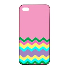 Easter Chevron Pattern Stripes Apple Iphone 4/4s Seamless Case (black) by Amaryn4rt
