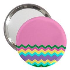 Easter Chevron Pattern Stripes 3  Handbag Mirrors by Amaryn4rt