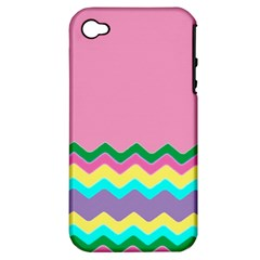 Easter Chevron Pattern Stripes Apple Iphone 4/4s Hardshell Case (pc+silicone) by Amaryn4rt
