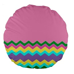 Easter Chevron Pattern Stripes Large 18  Premium Round Cushions by Amaryn4rt