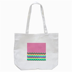 Easter Chevron Pattern Stripes Tote Bag (white) by Amaryn4rt