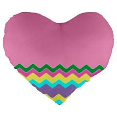 Easter Chevron Pattern Stripes Large 19  Premium Flano Heart Shape Cushions by Amaryn4rt