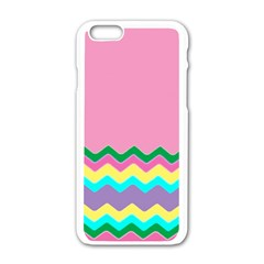 Easter Chevron Pattern Stripes Apple Iphone 6/6s White Enamel Case by Amaryn4rt