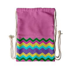 Easter Chevron Pattern Stripes Drawstring Bag (small) by Amaryn4rt