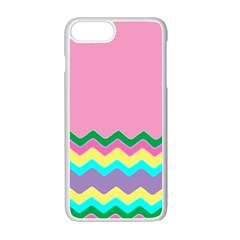 Easter Chevron Pattern Stripes Apple Iphone 7 Plus White Seamless Case by Amaryn4rt