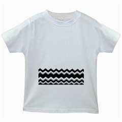 Chevrons Black Pattern Background Kids White T-shirts by Amaryn4rt