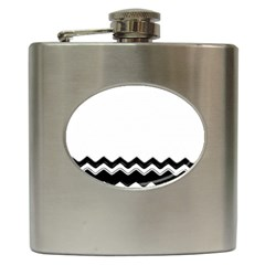 Chevrons Black Pattern Background Hip Flask (6 Oz) by Amaryn4rt